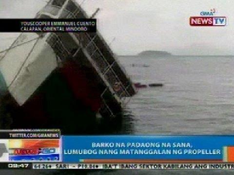 NTG: Barko na padaong na sana sa Calapan, Oriental Mindoro, lumubog nang matanggalan ng propeller
