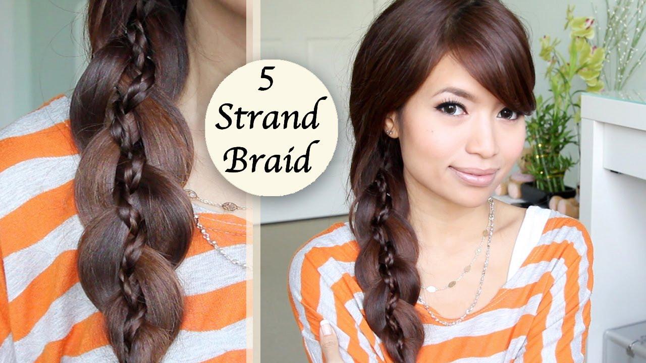 Unique 5 Strand Braid Braid In Braid Hairstyle Hair Tutorial