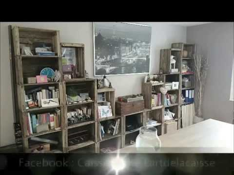 biblioth que etagere diy cagette caisse pommes palettes youtube. Black Bedroom Furniture Sets. Home Design Ideas