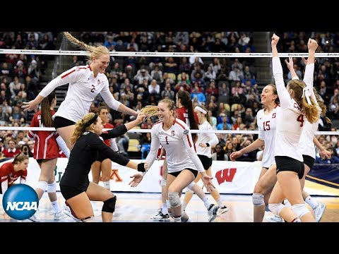 Stanford match point, celebration at 2019 DI women's volleyball championship