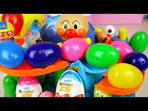 Surprise eggs Kinder Joy toys with Anpanman playset and Pororo