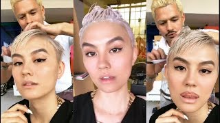 agnez mo with hair colorist daniel moon in los angeles