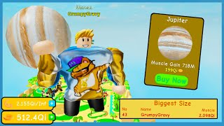 I Unlocked The Max Weight Jupiter And Got On The Biggest Size Leaderboard | Roblox Lifting Simulator