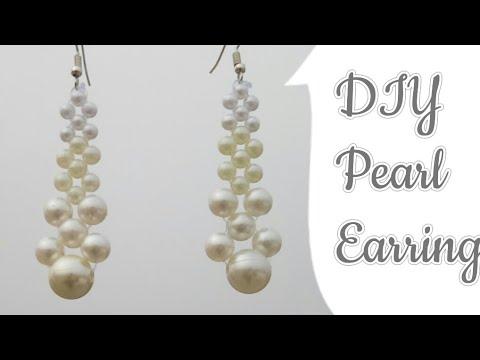 DIY Pearl Earrings| Making Pearl Beads Earrings| Pearl Dangle Earring| Beaded pearl earrings/Earring