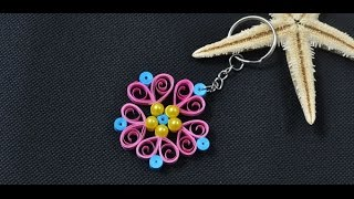 How to Make a Pink Quilling Paper Flower Keychain
