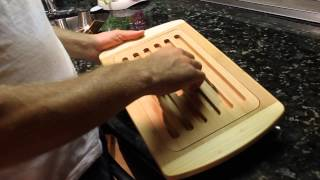 Reversible Bamboo Bread Board And Cutting Board With Magnetic Crumb Tray Trubamboo