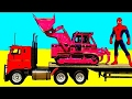 [Toys Child TV] - Learn Color Bulldozer Transportation w Spiderman Cars Cartoon & Colors for Childre