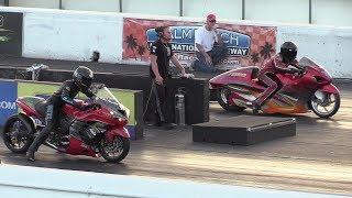 Kawasaki Ninja vs Hayabusa Suzuki-motorbikes racing