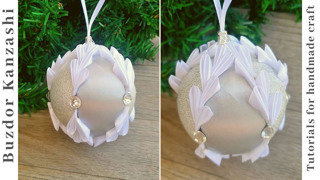 DIY karácsonyi gömb készítése kanzashi szirmokkal 02-20/ Christmas ornaments with kanzashi petals