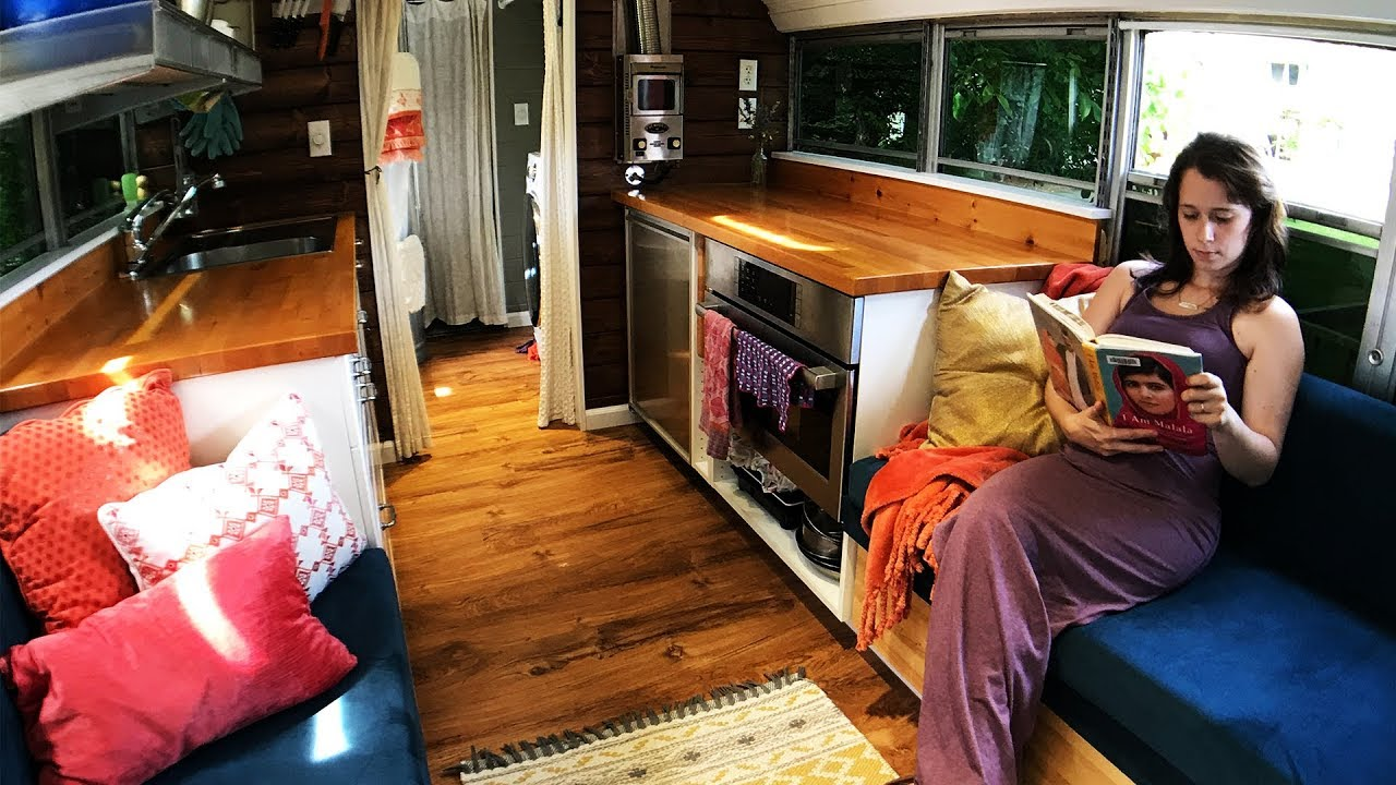 Tiny House School Bus Conversion New Tour Youtube