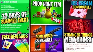 *NEW* Fortnite:14 Days of Summer FREE REWARDS! DRUM Shotgun, Air Strike, SURFBOARD, STRANGER THINGS!