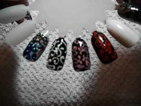 white and black swirls with rhinestones