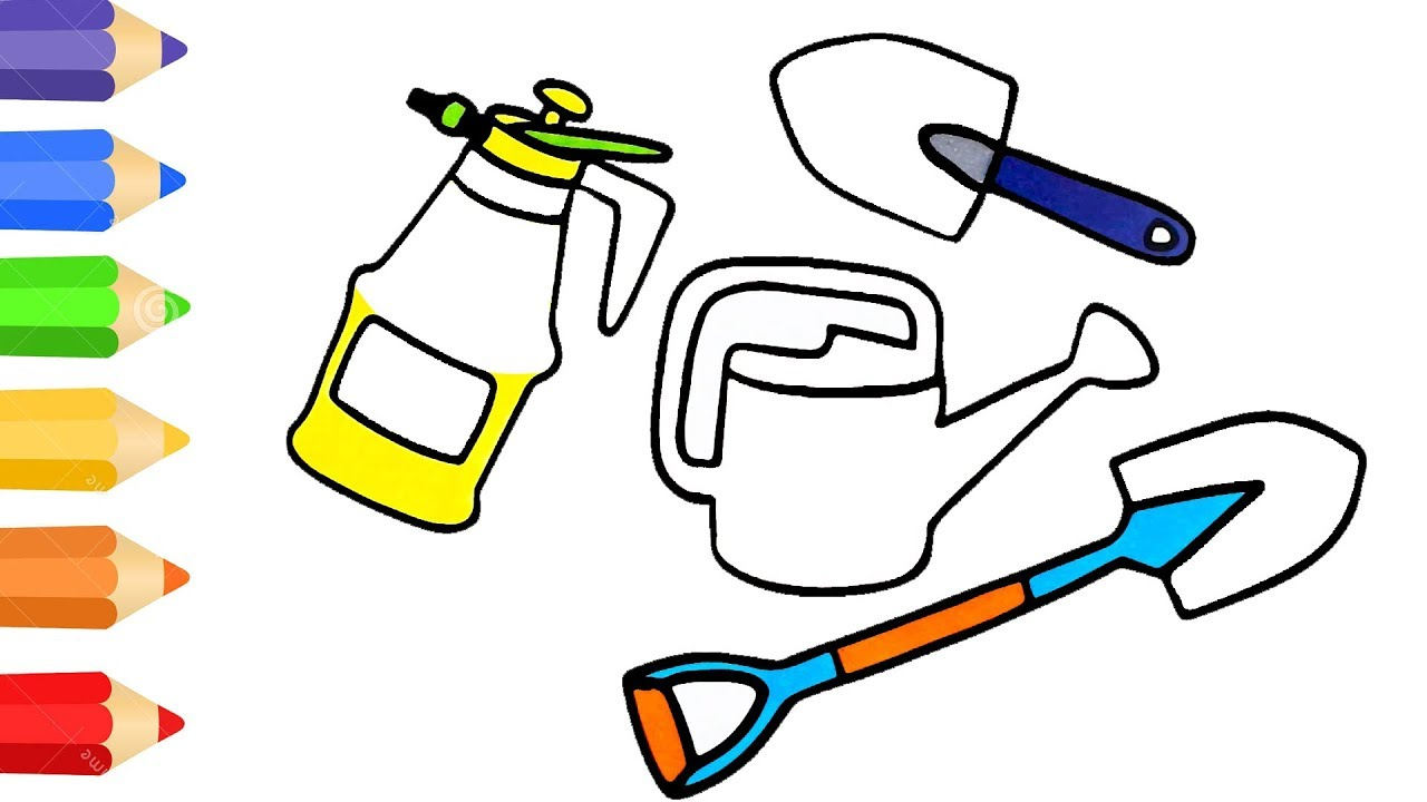 how to draw garden tool sets coloring pages for kids art colour