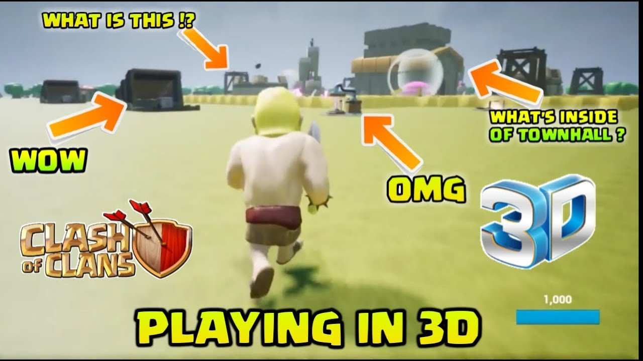 PLAYING CLASH OF CLANS IN 3D ! What's Inside Of Townhall !?