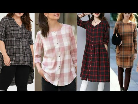 Check Print Kurties To Wear With Jeans /Plus Size Plaid Tunic Top Designs