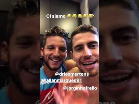 """VIDEO - Jorginho ed Allan con Mertens: """"E' tornato il nostro bomber!"""""""