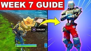 Fortnite WEEK 7 CHALLENGES GUIDE! – HUNTING PARTY SKIN, SECRET BATTLE STAR LOCATION