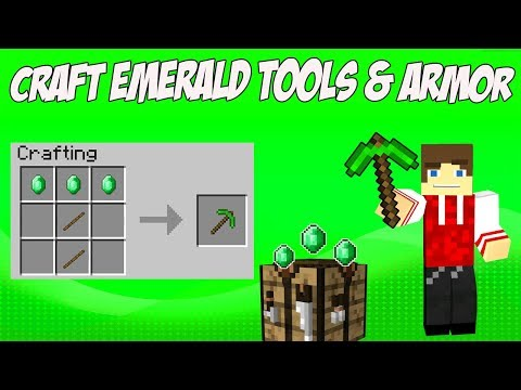 Craft Emerald Tools and Armour in Minecraft Extra Gear Mod