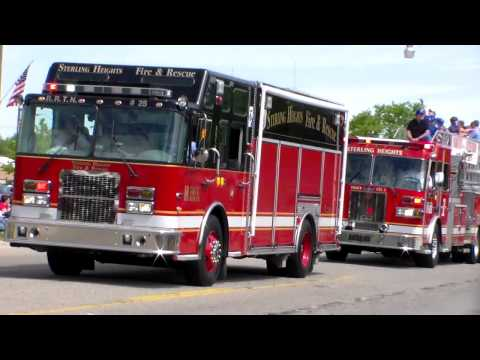 Sterling Heights city fire trucks at Sterling Heights Memorial Day parade