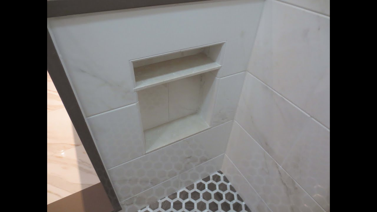 reveal one for herringbone challenge shower bathroom niche room the com tuesday final roomfortuesday