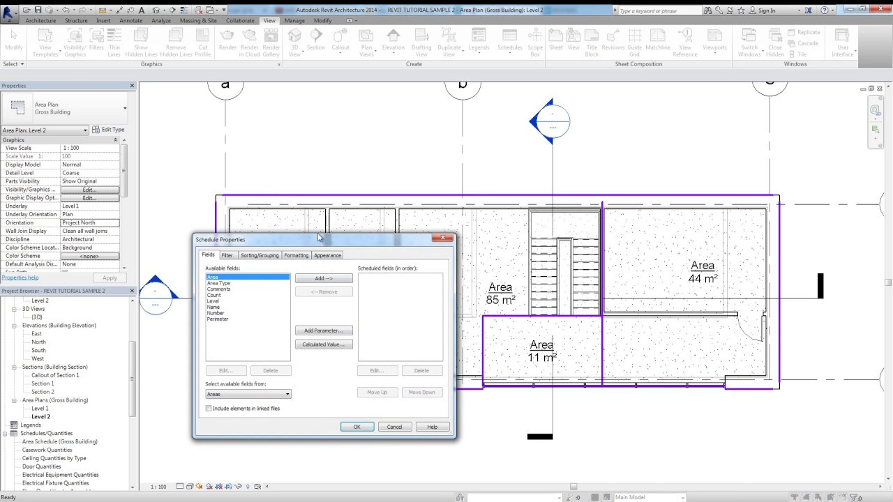 Area Plan & Area Schedule In Revit 2014