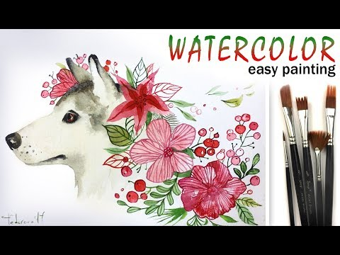 How to paint DOG! Symbol of 2018 New Year! Paint with WATERCOLOR! Tutorial for Beginners! EASY
