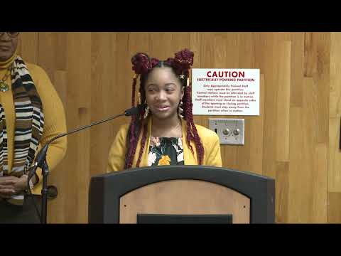 "Vanguard Collegiate High School Senior Brianna Foster receives the RCSD ""I Believe Award"""