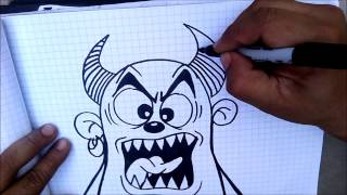 Learn to draw a Devil for  Stickers  slaps