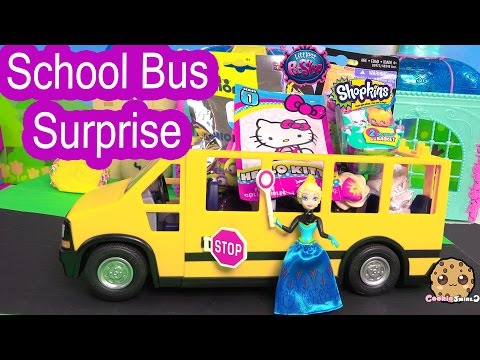 LPS, Shopkins Season 3, Minions, Surprise Blind Bags School Bus With Disney Frozen Queen Elsa Doll