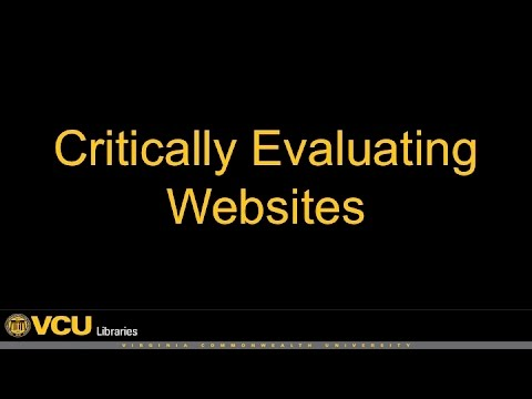 Critically Evaluating Websites