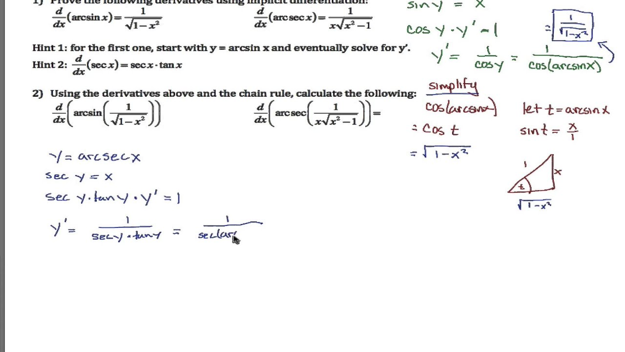 Proving And Applying Inverse Trig Derivatives