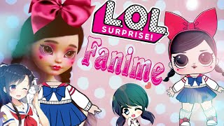 LOL DOLL ooak lol surprise Fanime 💟 repaint Ever After High custom Japanese schoolgirl