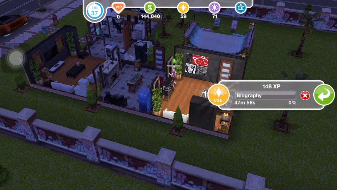[The Sims FreePlay] Read a biography at neighbors house