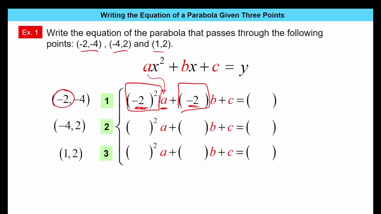 Writing equation of parabola given three points youtube writing equation of parabola given three points falaconquin