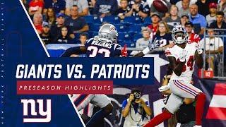 Giants vs. Patriots preseason highlights