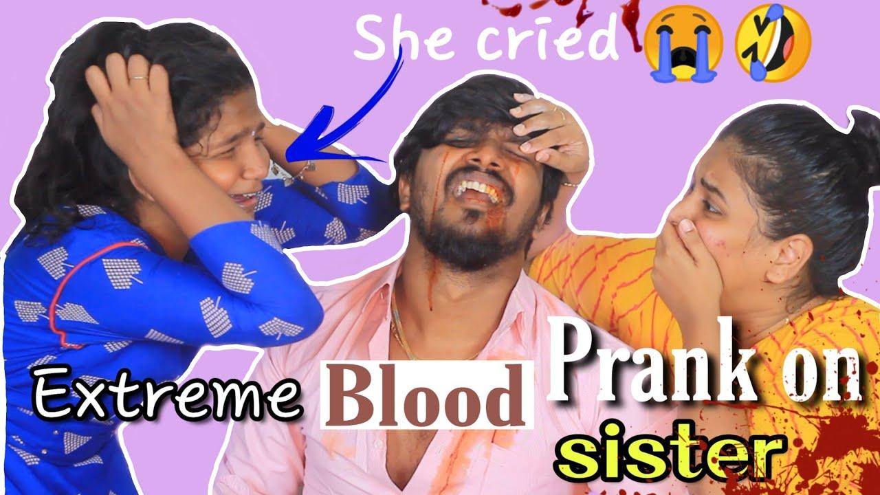 Horrible bleeding prank on sister | Ram jaanu blood prank