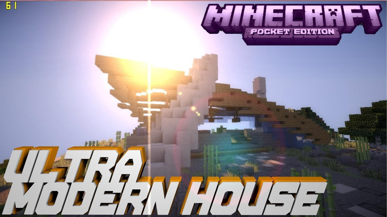 Minecraft pe ultra modern house download youtube for Modern house minecraft pe