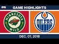 NHL Highlights | Wild vs. Oilers - Dec 7, 2018