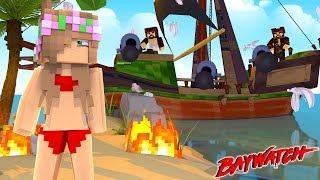 PIRATES ATTACK BAYWATCH BEACH!   Minecraft Little Kelly   Baywatch
