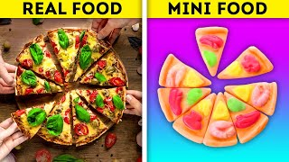 REAL FOOD VS. MINI FOOD || 19 DELICIOUS RECIPES AND DIY IDEAS