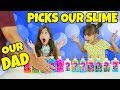 Our Parents Pick Our Slime Ingredients Challenge! Our Dad Picks Our Slime