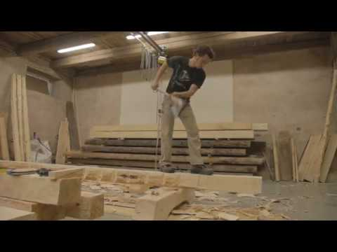French carpenter Mourad Manesse hewing axe skills