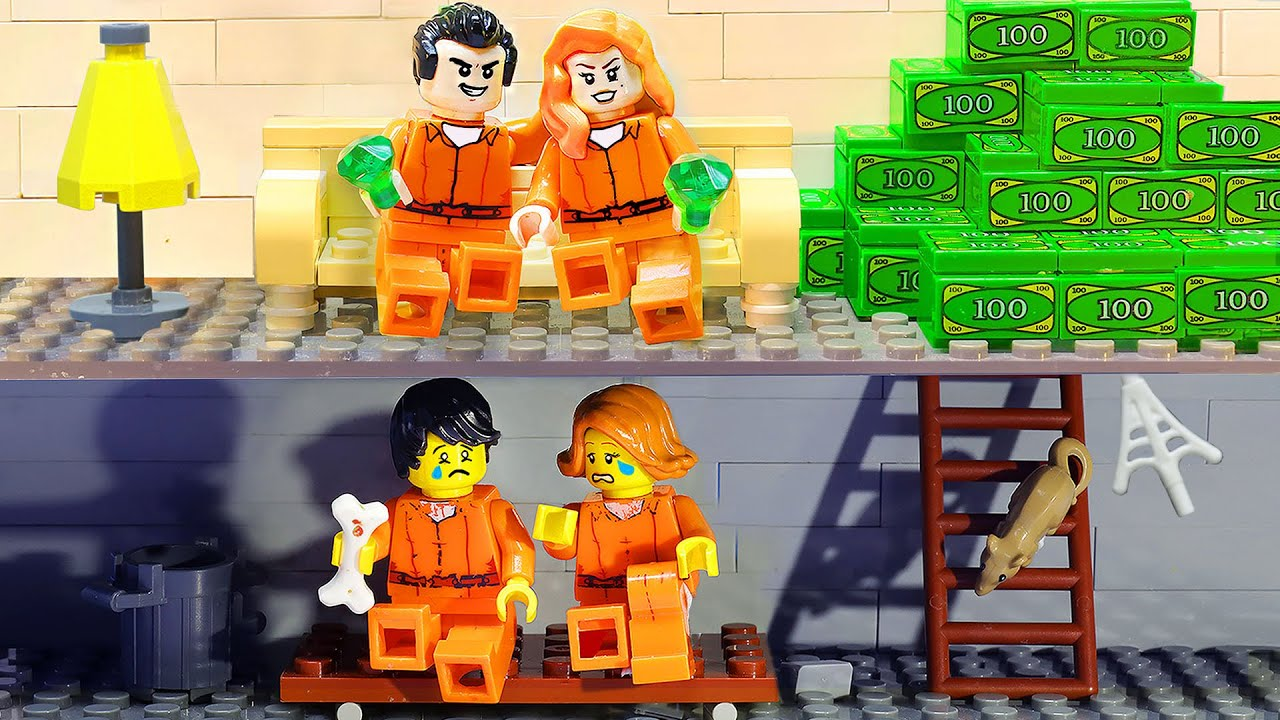 RICH COUPLE VS BROKE COUPLE IN PRISON | Great Escape from Jail | LEGO Land