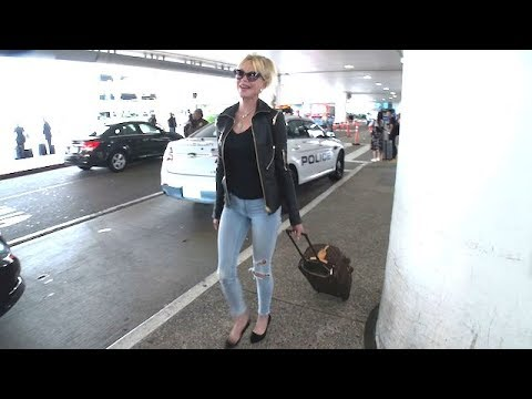 Melanie Griffith Sexy In Leather At LAX