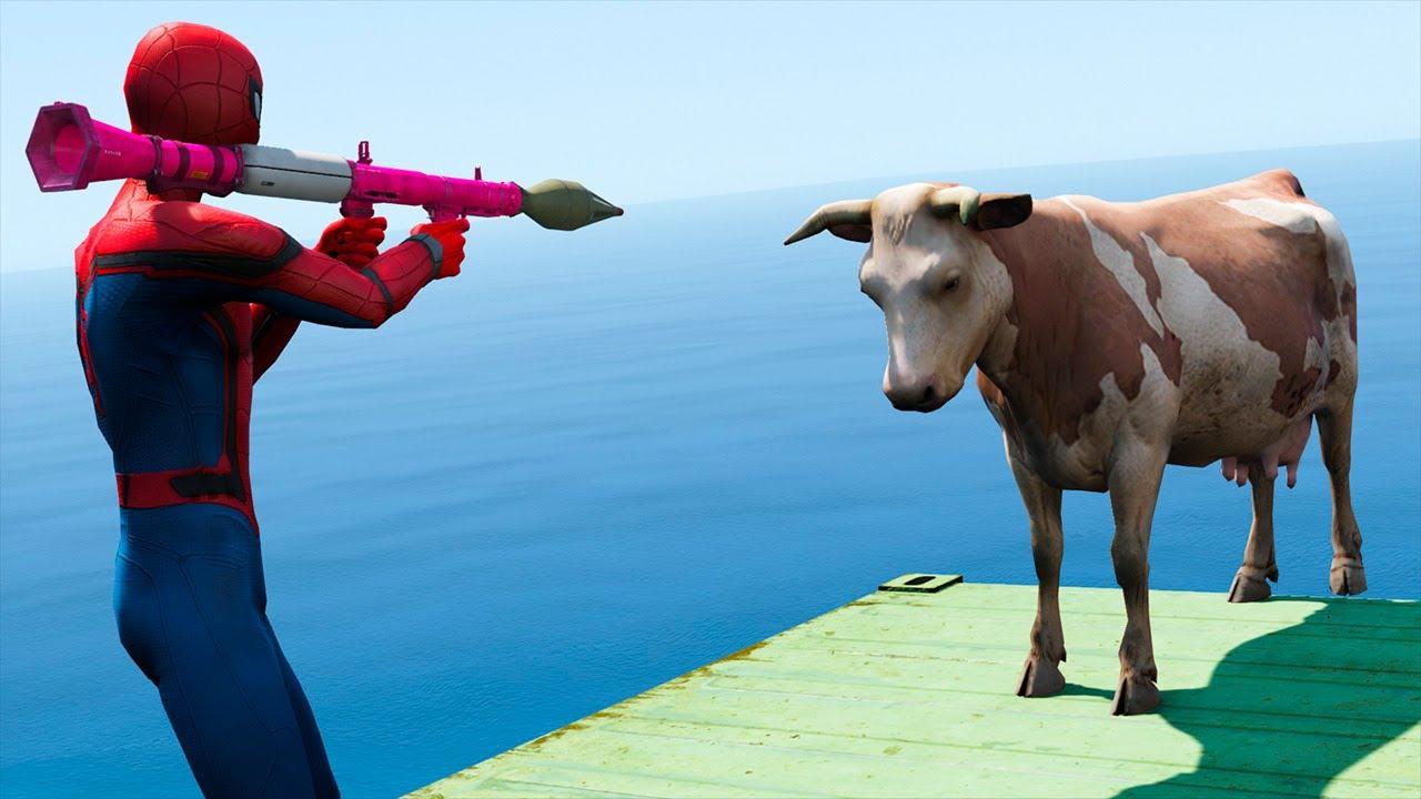 GTA V Water Ragdolls Spiderman VS COW (GTA 5 Superhero Battle Euphoria Physics & Jump/Fails)