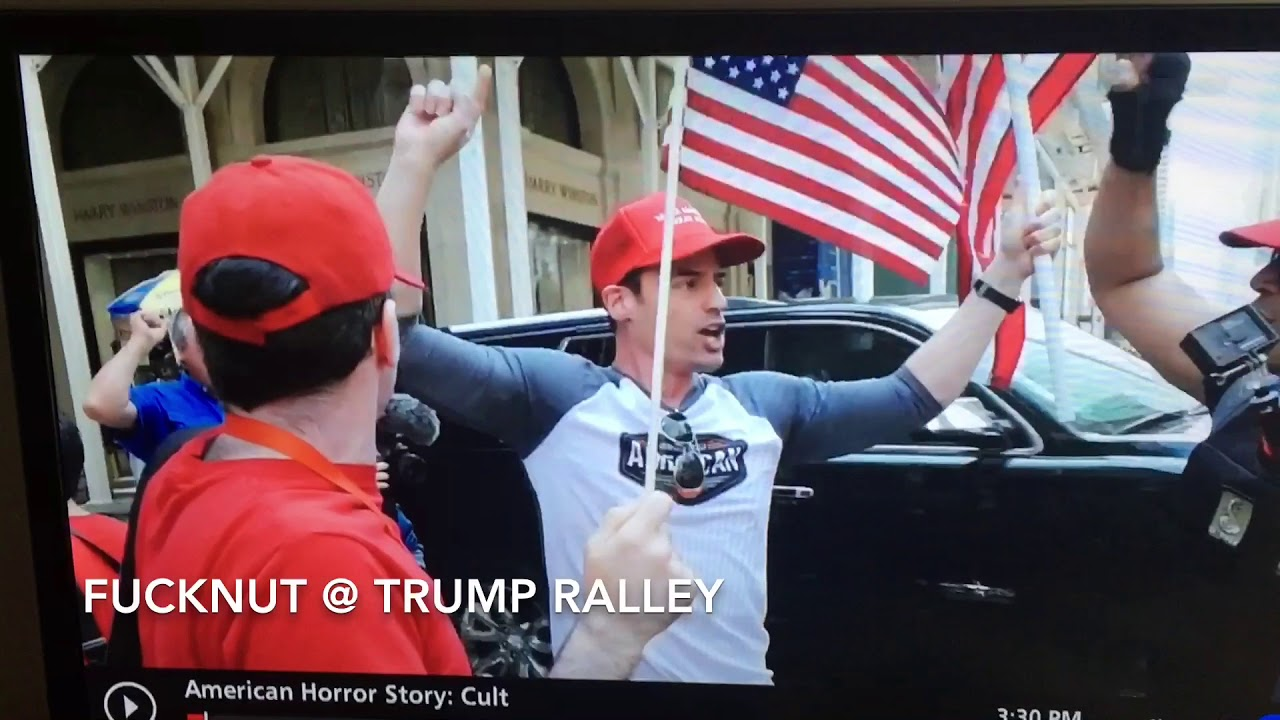 Bigot lawyer Aaron Schlossberg chanting USA @ Trump Ralley
