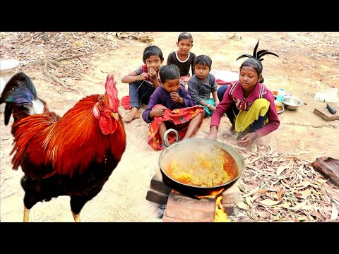 how tribe children cook village famous RED COUNTRY CHICKEN  with potato curry || rural village life