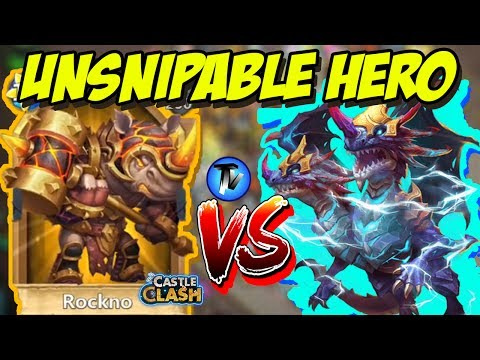 Castle Clash - Defensive Gameplay Of Rockno | Un-Snipable Hero !!! | [F2P + P2P Sniping]