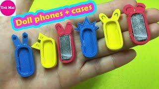 Làm điện thoại thu nhỏ cho búp bê siêu dễ |Miniature phone cases and Samsung | Tra Mai DIY