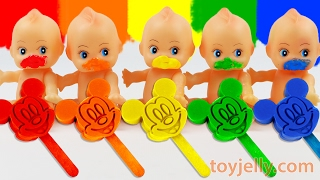 Learn Colors Play Doh Mickey Mouse Popsicle Ice Cream Paint Baby Doll Finger Family Nursery Rhymes
